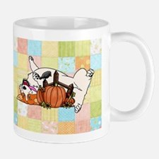 Fall Corgi with Pumpkin with Quilted Background Mu