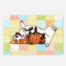 Fall Corgi with Pumpkin with Quilted Background Po