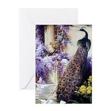 Bidau Peacock, Doves, Wisteria Greeting Cards