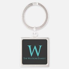 Teal and Dark Gray Custom Monogram Square Keychain