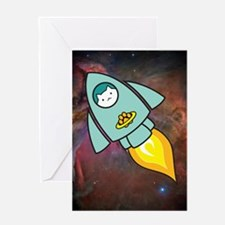 Fat Cat Rocketship (PNG6000) Greeting Cards
