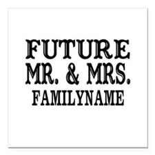 "Future Mr. and Mrs. Pers Square Car Magnet 3"" x 3"""