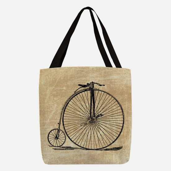 Vintage Penny Farthing Bicycle Polyester Tote Bag