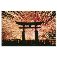 Summer Fireworks At Itsukushima Shrine Poster