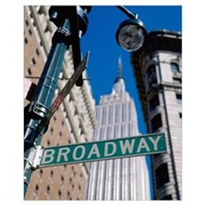 Broadway Sign And Empire State Building; New York Canvas Art