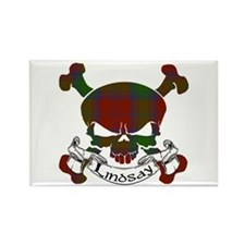 Lindsay Tartan Skull Rectangle Magnet