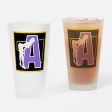 Naughty Initial Design (A) Drinking Glass