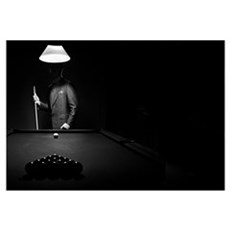 Mystery Pool Player Behind Rack Of Billiard Balls Canvas Art