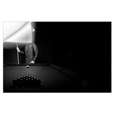 Mystery Pool Player Behind Rack Of Billiard Balls Wall Decal