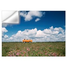 Campervan Going Down Road In Front Of Heather In F Wall Decal