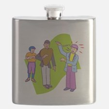 Baseball Coach Arguing With Ump Flask