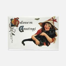 Happy Halloween Card with Cat Rectangle Magnet