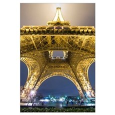 Eiffel Tower At Night,Low Angle View, Paris, Franc Framed Print
