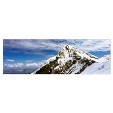 Summit Of Monch Mountain In Bernese Alps Poster