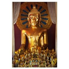 Buddhist Statue In Wat Phra Singh Temple; Chiang M Framed Print