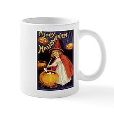 Halloween Greetings Vintage Girl Witch Mugs