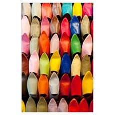 Colorful Shoes In A Market In Marrakesh, Morocco Poster
