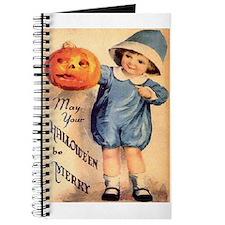 Halloween Greetings Boy with Pumpkin Journal