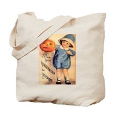 Halloween Greetings Boy with Pumpkin Tote Bag