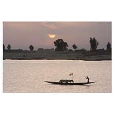 Boat On The Niger River In Mopti, Mali, Africa Poster