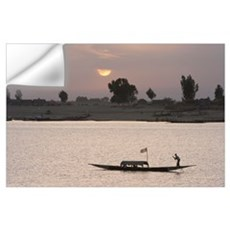 Boat On The Niger River In Mopti, Mali, Africa Wall Decal