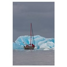 Sailboat In Laguna San Rafael; Aysen Region, Chile Poster