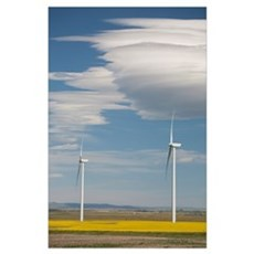 Dramatic Clouds With Blue Sky And Windmills; Alber Poster