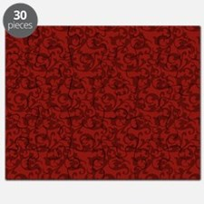 Elegant Red Baroque Damask Puzzle