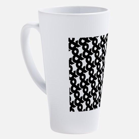 Ampersand Pattern Black and White 17 oz Latte Mug