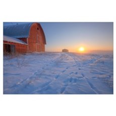 Red Barn On Very Cold Winter Morning At Sunrise, A Poster