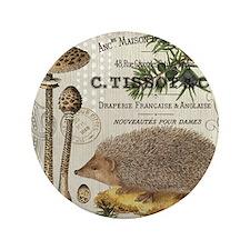 """modern vintage woodland hedgehog 3.5"""" Button"""