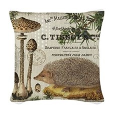 modern vintage woodland hedgehog Woven Throw Pillo