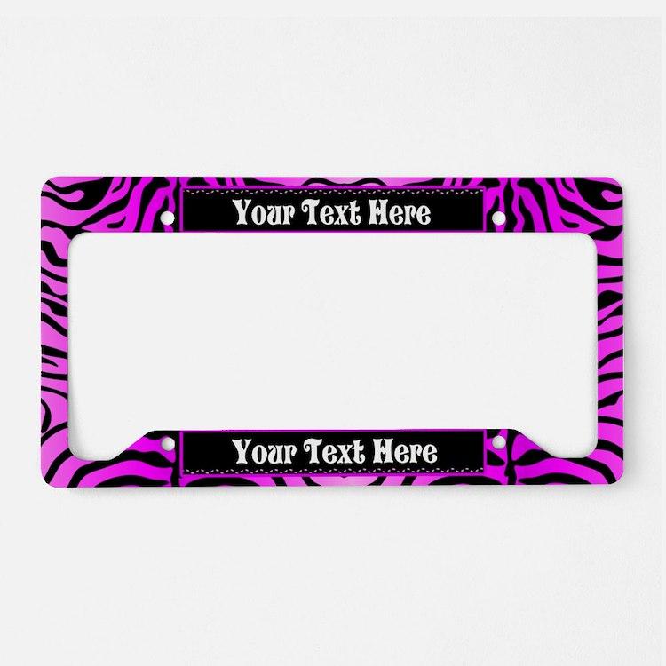 Pink Zebra Custom License Plate Holder