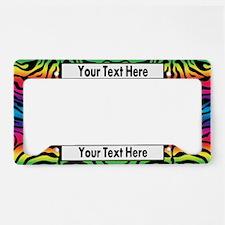 Rainbow Zebra Custom License Plate Holder