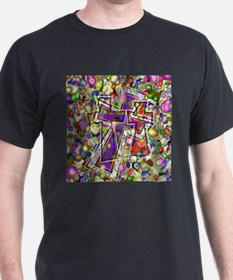 3 Crosses in colorful gems T-Shirt