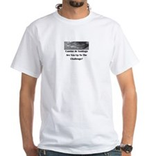 Mens' White Crew Neckt-Shirt With Challenge Saying