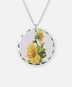Watercolor Sunflower flower Necklace