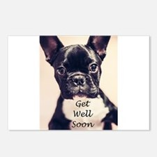 Get Well Soon French Bulldog Postcards (Package of