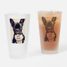 Get Well Soon French Bulldog Drinking Glass