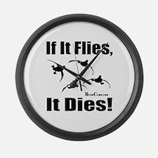 Flies_it_dies_duck.jpg Large Wall Clock