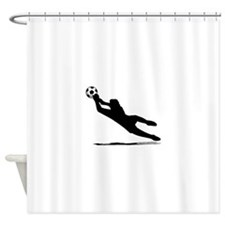 Soccer Goalie Silhouette Shower Curtain