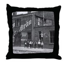 Newsboys Outside a Saloon, 1910 Throw Pillow