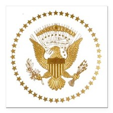 """Gold Presidential Seal Square Car Magnet 3"""" x 3"""""""