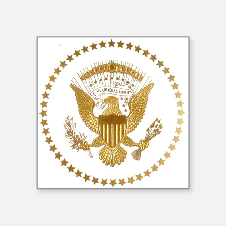 "Gold Presidential Seal Square Sticker 3"" x 3"""