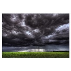 Summer Storm Clouds Over An Unripened Canola Field Poster