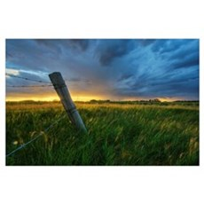 Summer Thunderstorm And Fencepost, Alberta, Canada Poster