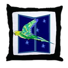 Parakeet Flying Throw Pillow