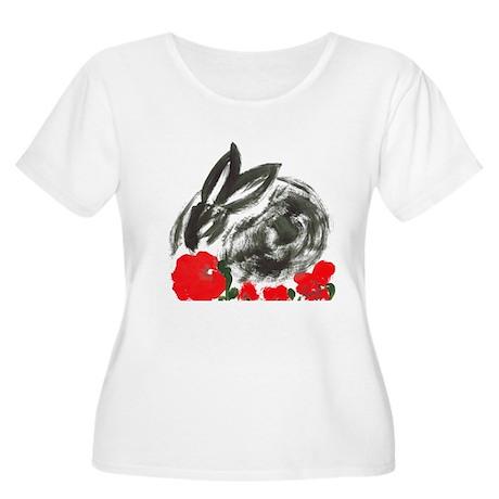 red flower blanket Women's Plus Size Scoop Neck T-