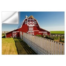 Red Barn With Fence, Near Lake Alma, Saskatchewan, Wall Decal