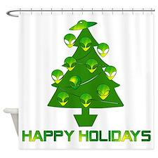 Alien Christmas Tree Shower Curtain